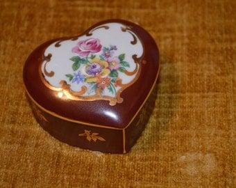 Vintage Elfinware Heart Shape Trinket Box, Germany, Rust/Maroon with Flowers, gold designs