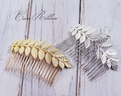 Leafy Bridal Hair Comb, Laurel Leaf Gold / Silver Wedding Bridal Hair Piece Pin E24