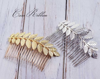 Leafy Bridal Hair Comb, Laurel Leaf Gold / Silver Wedding Bridal Hair Piece Pin E24