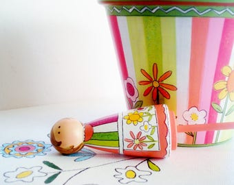 """Hand Painted Terracotta 6 Inch """"Sherbet Stripes""""- Ready to ship"""