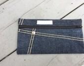 Ready to ship//  Recycled Denim /Zipper Pouch/ Denim Cash Envelope with Zipper