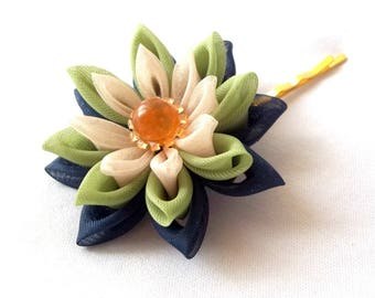 Unique Lotus Bobby Pin Tsumami Kanzashi Hair Flower Navy Green Orange Retro Palette