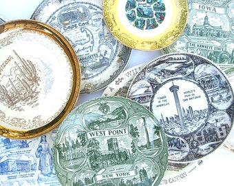 10 Vintage Souvenir State Plate, Vernon Kilns, Cape Cod, New York, Oklahoma, Minnesota, West Point, Texas, Iowa, Arizona, Yosemite