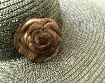 metallic bronze leather hat pin brooch by Tuscada. Ready to ship.