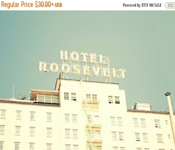 """SALE Los Angeles Photography- Roosevelt Hotel, California Wall Art, Hollywood, Retro, Summer, Mint, Architecture Photograph, """"Roosevelt Hote"""