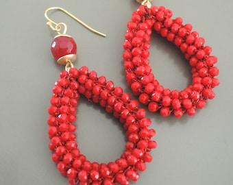 Beaded Earrings - Gold Earrings - Red Earrings - Stone Earrings - Crystal Earrings - Boho Earrings - handmade jewelry
