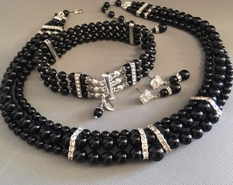 COMPLETE Black Jewelry Set Necklace Bracelet and Earrings in Swarovski Pearl Rhinestone in silver 3 strands wedding mother of the bride
