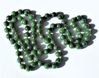 Vintage Chinese Spinach Green 8mm Jade Bead Individually Knotted Necklace 29""