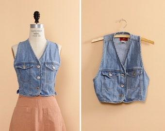 Cropped Vest S/M • Denim Vest • 90s Vest • Racerback Boho Vest • Vintage Vest • Grunge Clothing • Vest Women | T483