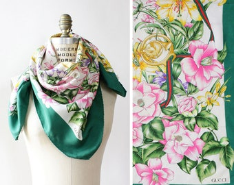 Vintage Gucci Silk Scarf •Floral Silk Scarf • Designer Silk Scarf • Green Silk Scarf • Gucci Silk Scarf • Designer Silk Scarf | GSC26