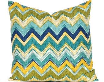 Chevron Pillow Cover - Turquoise, Teal and Lime Green - All Sizes - Textured Designer Fabric - Sofa Cushion Covers - Couch Pillow Covers