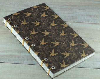 Hummingbird coptic binding travelers journal / notebook