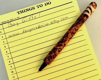 Gift Pen, Brown and Gold pen, Polymer Clay Handled Pen, Teacher gift, Man's Gift, Arthritis pen