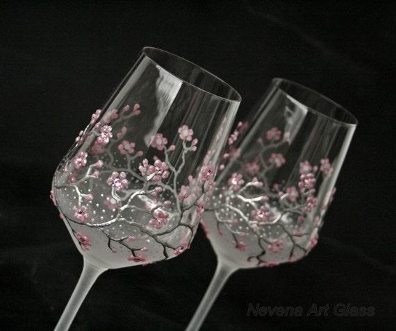 Wine Glasses, Wedding Glasses,  Sakura Glasses, Cherry Blossom,  Hand Painted Set of 2