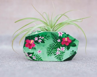 SPRING ARTIST SERIES - Roxy Green Floral Air Plant/ Mini Succulent Planter - Hand painted 3D printed Planter