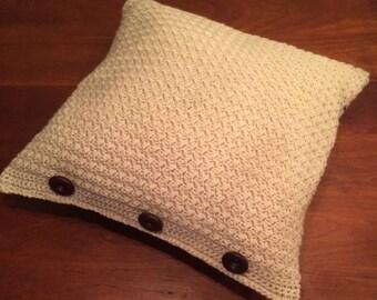 Handmade crochet pillow with sand blue cream fabric