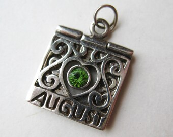 Vintage Sterling Silver August Birthstone Green Peridot Charm Necklace Pendant