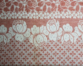 1920s 30s Gorgeous Reversible Cotton Coverlet - Arts and Crafts Terracotta & White Floral Brocade Twin Bedspread - Monument Mills - 47763
