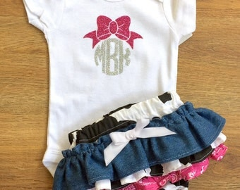 Little cowgirl Ruffle Bloomers and Monogrammed Onesie