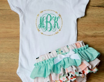Feather Ruffle Bloomers with Arrow Monogrammed Onesie