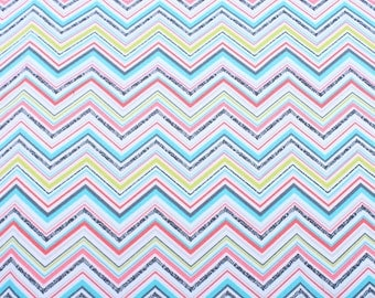 Color zigzag pattern canvas cotton fabric by meter