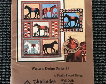 The Steadfast Steed Western Quilt Pattern Booklet Horses Bed Quilt Wall Quilt