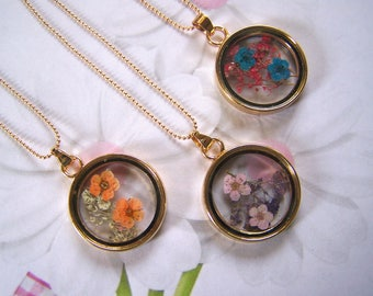 Glass Lockets with Dried Flowers