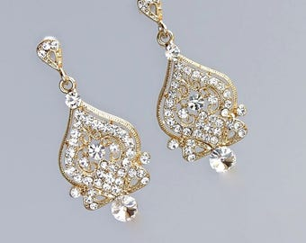 Gold Crystal Earrings, Chandelier Earrings, Vintage Bridal Gold Earings, 18K Gold, Rhodium & Rose Gold Options, LUCY 4