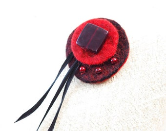 Red Brooch Black Brooch Felted Brooch Feather Brooch Felted Jewelry