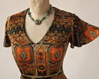 70's Psychedelic Mini Dress Vintage Jersey Orange Turquoise Persian Pattern Butterfly Sleeves