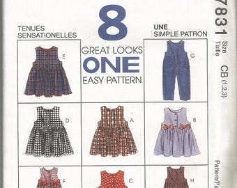 Vintage McCall's 7831 Girls Jumper and Jumpsuit Pattern SZ 1-3  CLEARANCE ITEM