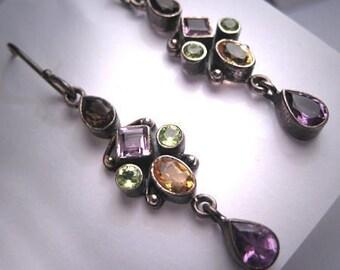 Vintage Victorian Revival Earrings Amethyst Peridot Citrine Gems Dangle Drop