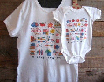 Mommy and Me Craft Lovers Tee and Baby Bodysuit