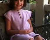 CUSTOM LISTING for Alison.  Little girl's hand knitted dress using lemon yellow yarn, age 3 yrs