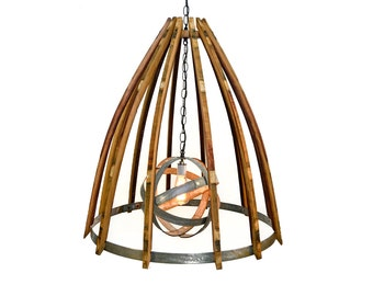 "Wine Barrel Chandelier - CRAFTSMAN - ""Coprinus"" - 100% recycled"