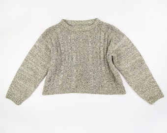 VINTAGE Cropped Sweater 1990s Cable Knit Natural