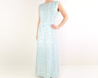 VINTAGE Beaded Gown 1960s Ice Blue Rhinestone Dress