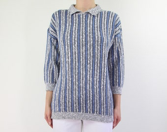 VINTAGE 1980s Striped Sweater Blue Grey Collar