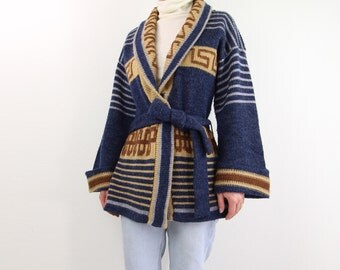 VINTAGE 1970s Cardigan Belted Wrap Sweater Blue