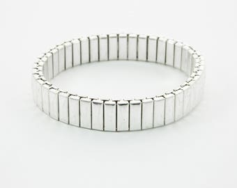 Silver Stretch Bangles - Set of 4 Bracelets - 4 PCs