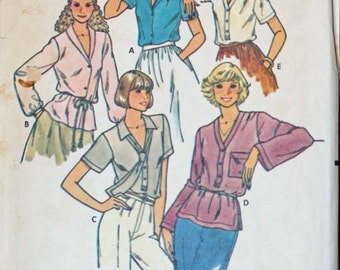 Size 16 Butterick 6275 Blouse Shirt Top and Tie Vintage   Misses Womens Sewing Pattern Sew Uncut