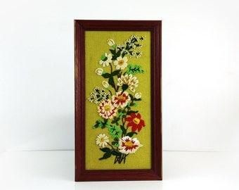 Vintage Framed Crewel / Large Floral Embroidery / Needlepoint