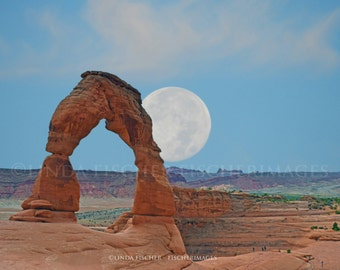 Delicate Arch Rock Formations at Arches with Daytime Moon Clouds Landscape Wall Art Home Decor Digital Download Linda Fischer Fischerimages