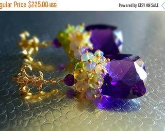 20% Off Mothers Day Sale New! Amethyst Ethiopian Opal and Peridot Gemstone Cluster Fleur-de-lis Post Earrings