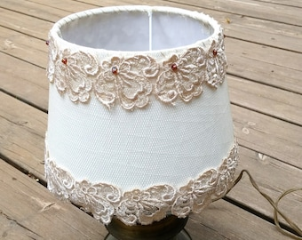 Shabby chic lamp, Fabric Lamp, Retro Lighting, Living room lights, Table lamp with antique tulle  flowers Lace, Floral  Country french decor