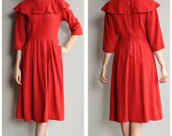 1940s Dress // Red Gabardine Dress // vintage 40s dress