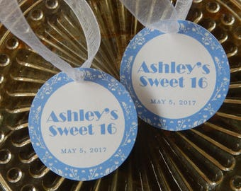 "Sweet 16 Custom Birthday Favor 1.5"" Tags - For Cake Pops - Lollipops - Cookies - Mason Jar Gifts - Party Favors - Quinceañera - (40) Tags"