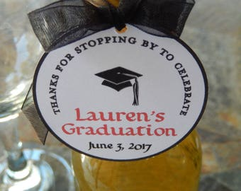 """Graduation Custom 2"""" Thank You Favor Tags - For Mini Wine and Champagne Bottles - Graduation Cap - Thanks for Stopping By - (40) Tags"""