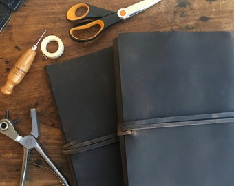 Big leather writing journal, Handmade leather wrap journal, Refillable distressed leather notebook cover, Customizable notebook choose size
