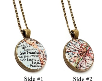 Double Sided Custom Vintage Map Necklace. You Select Two Locations Or Personalize With a Photo, Quote, Names, Dates. Two Sided Map Jewelry